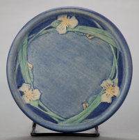 A NEWCOMB ART POTTERY CIRCULAR TILE BY JOSEPH MEYER, DECORATED BY HENRIETTA DAVIDSON BAILEY Circa 1910 Marks:<