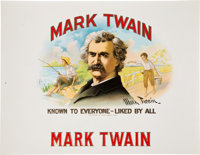 """[Mark Twain] 19th Century Stone Chromolithograph Cigar Label """"Mark Twain - Known to Everyone - Liked By All""""..."""