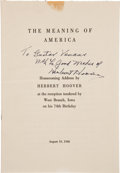 "Autographs:U.S. Presidents, Herbert Hoover Pamphlet Inscribed ""To Gustav Venaas with thegood wishes of Herbert Hoover""...."