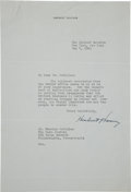 Autographs:U.S. Presidents, Herbert Hoover Typed Letter Signed...