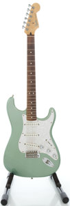 Musical Instruments:Electric Guitars, 2003 Fender Stratocaster MIM Sage Green Solid Body Electric Guitar,Serial #MZ3164924....