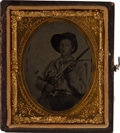 Photography:Tintypes, 1/9 Plate Tintype of an Armed Confederate Soldier....