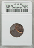 No Date 1C Lincoln Cents Off - Center Clip MS64 Red and Brown ANACS. NGC Census: (0/0). PCGS Population (16885/7765). (#...
