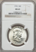 Franklin Half Dollars: , 1955 50C MS63 NGC. NGC Census: (350/2907). PCGS Population(545/3762). Mintage: 2,400,000. Numismedia Wsl. Price for proble...