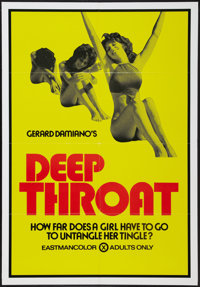 "Deep Throat (Aquarius Releasing, 1972). One Sheet (28"" X 40.5""). Adult"