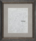 "Autographs:Military Figures, George Armstrong Custer Autograph Letter Signed ""G. A. Custer"" and initialed twice, two months before his death...."