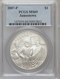 Modern Issues, 2007-P $1 Jamestown MS69 PCGS. PCGS Population (2189/1078). NGCCensus: (2754/4809). Numismedia Wsl. Price for problem fre...