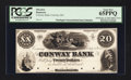 Obsoletes By State:Massachusetts, Conway, MA- Conway Bank $20 Sep. 12, 1854 Haxby UNL Proof. ...