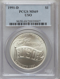 1991-D $1 USO Silver Dollar MS69 PCGS. PCGS Population (2056/187). NGC Census: (1593/243). Mintage: 124,958. Numismedia...