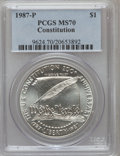 Modern Issues: , 1987-P $1 Constitution Silver Dollar MS70 PCGS. PCGS Population(207). NGC Census: (399). Mintage: 451,629. Numismedia Wsl....