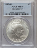 Modern Issues, 1990-W $1 Eisenhower Silver Dollar MS70 PCGS. PCGS Population(123). NGC Census: (164). Mintage: 241,669. Numismedia Wsl. P...