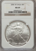 Modern Bullion Coins, 2006-W $1 One Ounce Silver Eagle Early Releases MS69 NGC. NGCCensus: (51855/9665). PCGS Population (8098/720). Numismedia...