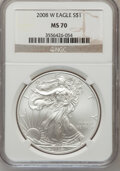 Modern Bullion Coins, 2008-W $1 Silver Eagle MS70 NGC. NGC Census: (0). PCGS Population(1551). (#393057)...