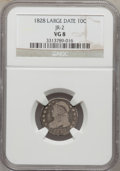 Bust Dimes: , 1828 10C Large Date VG8 NGC. JR-2. NGC Census: (2/21). PCGSPopulation (0/31). Mintage: 125,000. Numismedia Wsl. Price for...