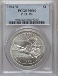 Modern Issues: , 1994-W $1 P.O.W. Silver Dollar MS69 PCGS. PCGS Population(1685/402). NGC Census: (1117/621). Mintage: 54,790. NumismediaW...