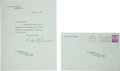 Autographs:U.S. Presidents, Franklin D. Roosevelt Typed Note Signed as President....