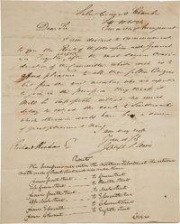 [Marquis de Lafayette] Letter Detailing the Route of Lafayette during the 1824 Visit to Philadelphia