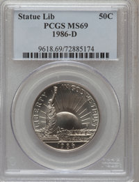 1986-D 50C Statue of Liberty Half Dollar MS69 PCGS. PCGS Population (2347/21). NGC Census: (1589/40). Mintage: 928,000...