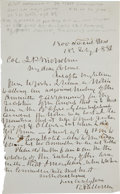 "Autographs:Military Figures, [Civil War] Robert Patterson Autograph Letter Signed ""RobertPatterson.""..."
