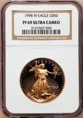 Modern Bullion Coins: , 1998-W G$50 One-Ounce Gold Eagle PR69 Ultra Cameo NGC. NGC Census:(1041/331). PCGS Population (1301/80). Numismedia Wsl. ...