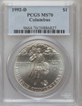 Modern Issues: , 1992-D $1 Columbus Silver Dollar MS70 PCGS. PCGS Population (146).NGC Census: (303). Mintage: 106,949. Numismedia Wsl. Pri...