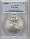 Modern Issues: , 1993-P $1 Jefferson Silver Dollar MS69 PCGS. PCGS Population(3161/233). NGC Census: (1390/461). Mintage: 266,927. Numismed...