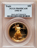Modern Bullion Coins: , 1990-W G$50 One-Ounce Gold Eagle PR69 Deep Cameo PCGS. PCGSPopulation (2952/142). NGC Census: (1670/638). Mintage: 62,401....
