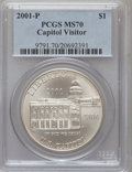 Modern Issues: , 2001-P $1 Capitol Visitor's Center Silver Dollar MS70 PCGS. PCGSPopulation (105). NGC Census: (486). Numismedia Wsl. Pric...