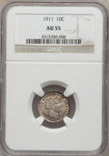 Barber Dimes: , 1911 10C AU55 NGC. NGC Census: (13/740). PCGS Population (22/906).Mintage: 18,870,544. Numismedia Wsl. Price for problem f...
