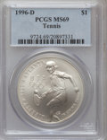 Modern Issues: , 1996-D $1 Olympic/Tennis Silver Dollar MS69 PCGS. PCGS Population(972/117). NGC Census: (528/68). Numismedia Wsl. Price f...