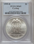 Modern Issues: , 1995-D $1 Olympic/Cycling Silver Dollar MS69 PCGS. PCGS Population(1104/156). NGC Census: (587/229). Numismedia Wsl. Pric...