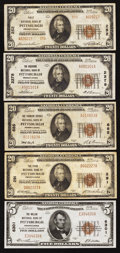 National Bank Notes:Pennsylvania, A Quintet of Pittsburgh Small Size Nationals. . ... (Total: 5notes)