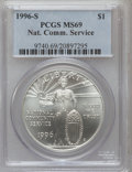 Modern Issues: , 1996-S $1 Community Service Silver Dollar MS69 PCGS. PCGSPopulation (1142/115). NGC Census: (676/245). Mintage: 23,500.Nu...