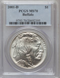 Modern Issues: , 2001-D $1 Buffalo Silver Dollar MS70 PCGS. PCGS Population (791).NGC Census: (1638). Numismedia Wsl. Price for problem fr...