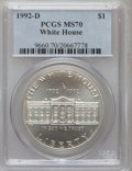 Modern Issues: , 1992-D $1 White House Silver Dollar MS70 PCGS. PCGS Population(201). NGC Census: (369). Mintage: 123,803. Numismedia Wsl. ...