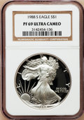 Modern Bullion Coins: , 1988-S $1 Silver Eagle PR69 Ultra Cameo NGC. NGC Census:(10852/534). PCGS Population (4520/181). Mintage: 557,370.Numisme...