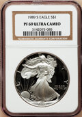 Modern Bullion Coins: , 1989-S $1 Silver Eagle PR69 Ultra Cameo NGC. NGC Census:(83500/875). PCGS Population (5290/313). Mintage: 617,694.Numisme...