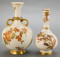 Ceramics & Porcelain, British:Modern  (1900 1949)  , TWO ROYAL WORCESTER PORCELAIN VASES . Circa 1886. Marks: (marooncrown over seal), 1163; Z10, 210, 1163. 10-1/2inch... (Total: 2 Items)