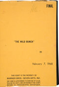 """Movie/TV Memorabilia:Documents, A William Holden Script from """"The Wild Bunch,"""" 1968.... (Total: 2Items)"""