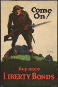 "Movie Posters:War, World War I Propaganda (1918). Poster (20"" X 30""). War. ""Come On!Buy More Liberty Bonds."". ..."