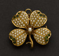 Estate Jewelry:Brooches - Pins, Vintage Pearl Peridot & Gold Flower Pin. ...