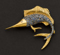 Estate Jewelry:Brooches - Pins, Charming Sapphire & Gold Sail Fish Pin. ...