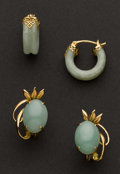 Estate Jewelry:Rings, Two Jade & Gold Earrings. ... (Total: 2 Items)