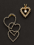Estate Jewelry:Brooches - Pins, Two Gold & Diamond Heart Pendants. ... (Total: 2 Items)