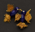 Estate Jewelry:Brooches - Pins, Early Blue Enamel & Gold Pin. ...