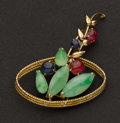 Estate Jewelry:Brooches - Pins, Multi-Color Jade & Gold Pin. ...