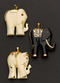 Estate Jewelry:Pendants and Lockets, Three Gold Elephants Pendants. ... (Total: 3 Items)
