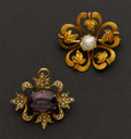 Estate Jewelry:Brooches - Pins, Two Antique Gold & Pearl Pendants. ... (Total: 2 Items)