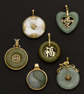 Estate Jewelry:Pendants and Lockets, Five Estate Gold Jade Pendants. ... (Total: 6 Items)