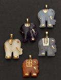 Estate Jewelry:Pendants and Lockets, Collection Of Five Semi-Precious Stones Gold Elephant Pendants. ...(Total: 5 Items)